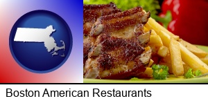 Boston, Massachusetts - an American restaurant entree (back ribs and french fries)