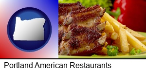 Portland, Oregon - an American restaurant entree (back ribs and french fries)