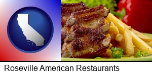 Roseville, California - an American restaurant entree (back ribs and french fries)