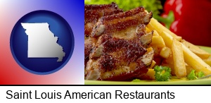 Saint Louis, Missouri - an American restaurant entree (back ribs and french fries)
